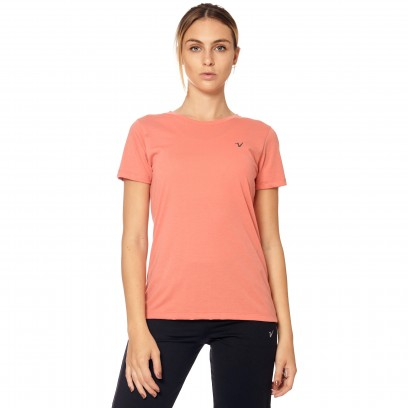 Remera regular mangas cortas coral