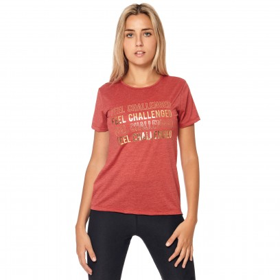 "Remera Estampada ""Feel Challenged"" Bordo"
