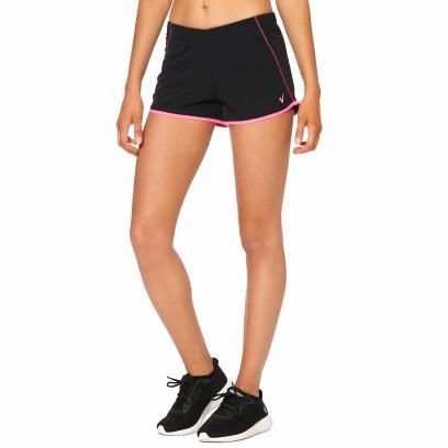 Short running con ribete combinado negro