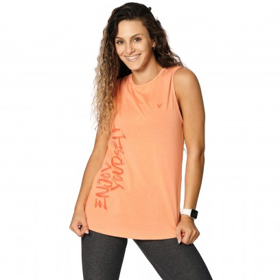 "Remera sin mangas ""Enjoy yourself"" Naranja"