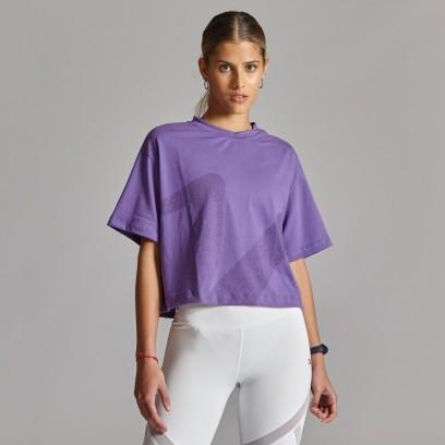 Remera mangas cortas crop V-Violeta