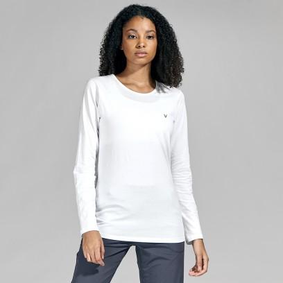 Remera cuello redondo algodón elastizado Blanco