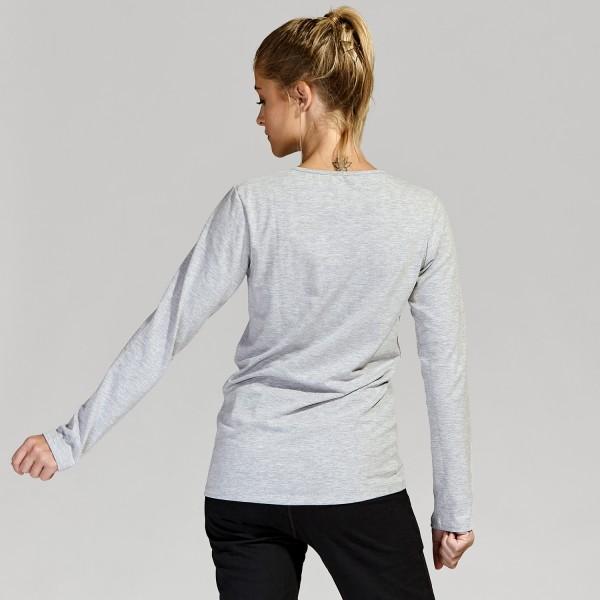 Remera cuello redondo algodón elastizado Gris melange