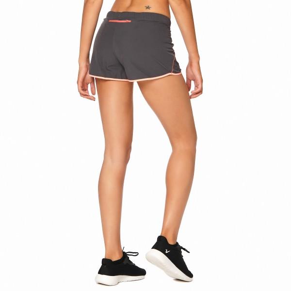 Short running con ribete combinado Gris